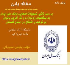 بررسی تاثیر تسهیلات اعطایی بانک ملی ایران به بنگاههای زودبازده و کار آفرین بانوان بر تولید و اشتغال در استان گلستان